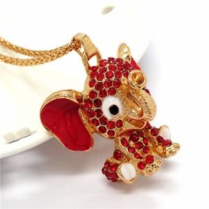 Jewelry - New Baby Elephant Red Crystal Enamel Gold Necklace